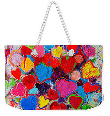 Abstract Love Bouquet Of Colorful Hearts And Flowers Weekender Tote Bag by Ana Maria Edulescu
