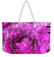 Abstract Pink Rose Mosaic Weekender Tote Bag by Saundra Myles