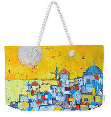 Abstract Santorini - Oia Before Sunset Weekender Tote Bag by Ana Maria Edulescu