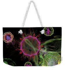 Weekender Tote Bag featuring the digital art Abstract Virus Budding 1 by Russell Kightley