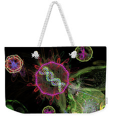 Weekender Tote Bag featuring the digital art Abstract Virus Budding 2 by Russell Kightley