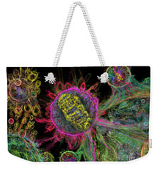 Weekender Tote Bag featuring the digital art Abstract Virus Budding Glow 1 by Russell Kightley