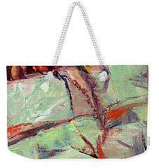Abstract With Cadmium Red Weekender Tote Bag by Betty Pieper