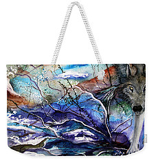 Weekender Tote Bag featuring the painting Abstract Wolf by Lil Taylor