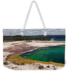 Weekender Tote Bag featuring the photograph Abyss Pool And Yellowstone Lake by Sue Smith