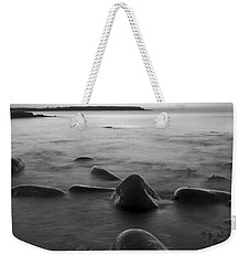 Acadia National Park Shoreline Sunrise Wakeup Black And White Weekender Tote Bag