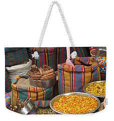 Weekender Tote Bag featuring the photograph Acco Acre Israel Shuk Market Spices Stripes Bags by Paul Fearn