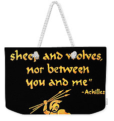 Weekender Tote Bag featuring the painting Achilles Admonition by Dale Loos Jr