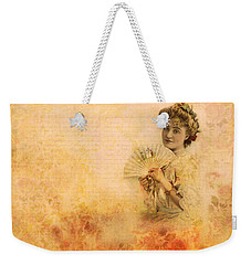 Weekender Tote Bag featuring the photograph Actress In The Pink Vintage Collage by Peggy Collins