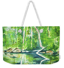 Weekender Tote Bag featuring the painting Adirondack Zen by Ellen Levinson