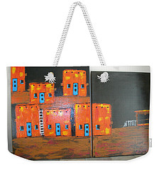 Weekender Tote Bag featuring the painting Adobes by Sharyn Winters
