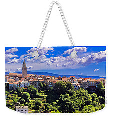 Adriatic Town Of Vrbnik Panoramic View Weekender Tote Bag by Brch Photography