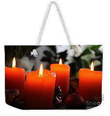 Weekender Tote Bag featuring the photograph Advent Candles Christmas Candle Light by Paul Fearn