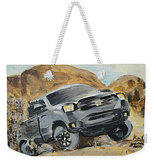 Weekender Tote Bag featuring the painting Adventure Awaits by Maria Langgle