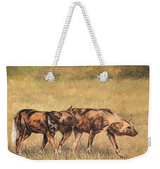 Africa Wild Dogs Weekender Tote Bag by David Stribbling