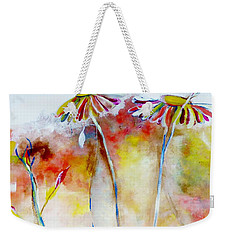 Weekender Tote Bag featuring the painting African Daisy Abstract by Lisa Kaiser