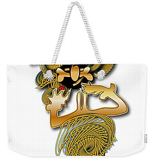 Weekender Tote Bag featuring the digital art African Dancer With Bone by Marvin Blaine