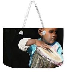 Weekender Tote Bag featuring the painting African Drummer Boy by Vannetta Ferguson