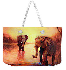African Elephants At Sunset In The Serengeti Weekender Tote Bag