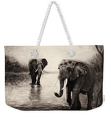 Weekender Tote Bag featuring the painting African Elephants At Sunset by Sher Nasser