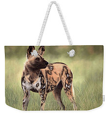 African Wild Dog Painting Weekender Tote Bag by Rachel Stribbling