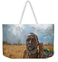 Weekender Tote Bag featuring the mixed media Afrikan Bushman by Vannetta Ferguson