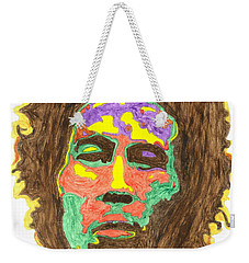 Weekender Tote Bag featuring the painting Afro Bob Marley by Stormm Bradshaw