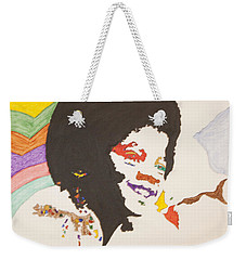 Weekender Tote Bag featuring the painting Afro Michael Jackson by Stormm Bradshaw