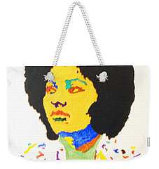 Weekender Tote Bag featuring the painting Afro Pam Grier by Stormm Bradshaw