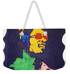 Weekender Tote Bag featuring the painting Afro Stevie Wonder by Stormm Bradshaw