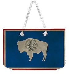 Aged Wyoming State Flag Weekender Tote Bag by Dan Sproul