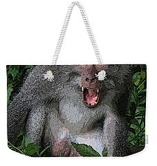 Weekender Tote Bag featuring the photograph  Aggressive Monkey From Bali by Sergey Lukashin