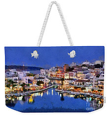 Painting Of Agios Nikolaos City Weekender Tote Bag