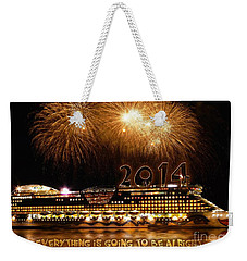 Weekender Tote Bag featuring the photograph Aida Cruise Ship 2014 New Year's Day New Year's Eve by Paul Fearn