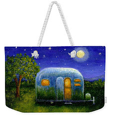 Weekender Tote Bag featuring the painting Airstream Camper Under The Stars by Sandra Estes