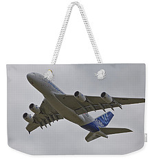 Weekender Tote Bag featuring the photograph Airbus A380 by Maj Seda