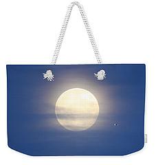 Airplane Flying Into Full Moon Weekender Tote Bag