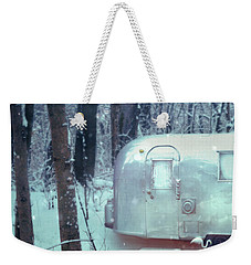 Airstream Trailer In Snowy Woods Weekender Tote Bag