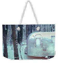 Airstream Trailer In Snowy Woods Weekender Tote Bag by Jill Battaglia