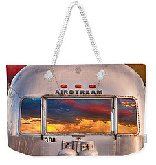 Airstream Travel Trailer Camping Sunset Window View Weekender Tote Bag