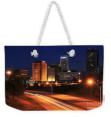 D1u-140 Akron Ohio Night Skyline Photo Weekender Tote Bag