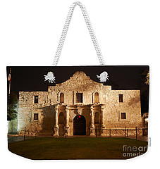 Alamo Mission Entrance Front Profile At Night In San Antonio Texas Weekender Tote Bag