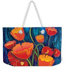 Weekender Tote Bag featuring the mixed media Alaska Poppies by Teresa Ascone