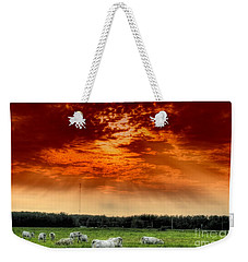 Weekender Tote Bag featuring the photograph Alberta Canada Cattle Herd Hdr Sky Clouds Forest by Paul Fearn