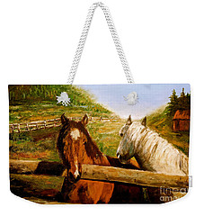 Weekender Tote Bag featuring the painting Alberta Horse Farm by Sher Nasser