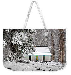 Weekender Tote Bag featuring the photograph Alfred Reagan's Home In Snow by Debbie Green