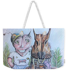 Weekender Tote Bag featuring the painting Alien Boy And His Best Friend by R Muirhead Art