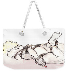 Weekender Tote Bag featuring the mixed media All Dressed Up And Nowhere To Go - Female Nude, Bondage by Carolyn Weltman