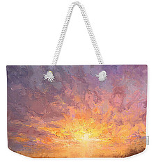 Impressionistic Sunrise Landscape Painting Weekender Tote Bag by Karen Whitworth