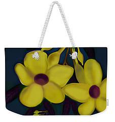 Weekender Tote Bag featuring the digital art Allamandas At Night by Latha Gokuldas Panicker